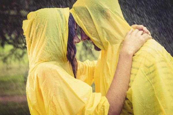 Couple in rain ponchos
