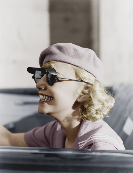 Vintage woman driving