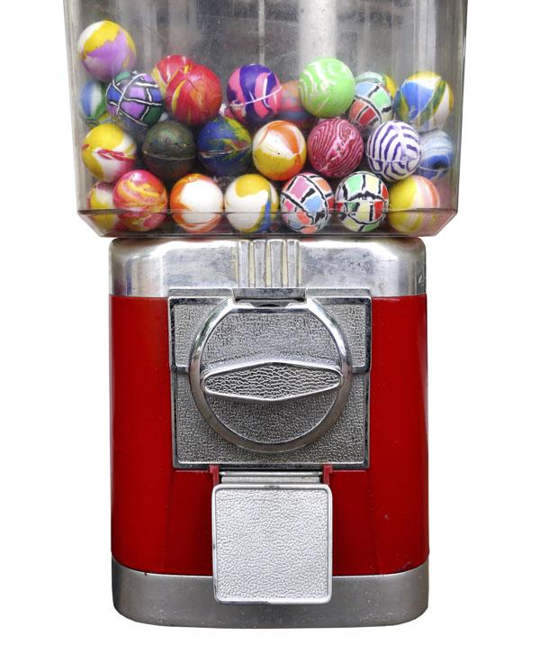 Bouncy balls in coin-op machine