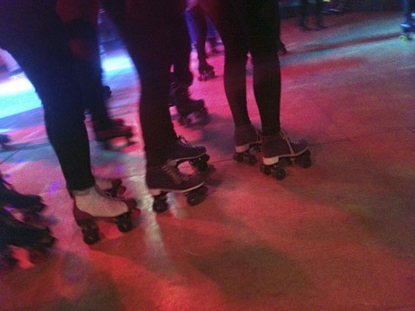Conga line at roller rink