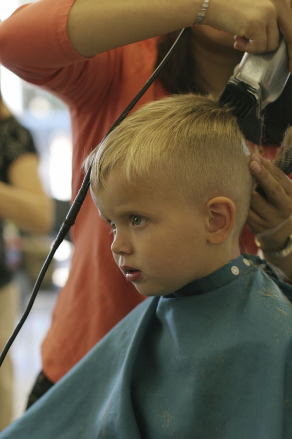 Little boy's first haircut