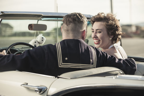 Vintage sailor and woman on first date
