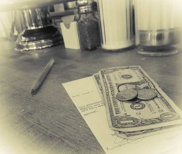 Tip money on counter