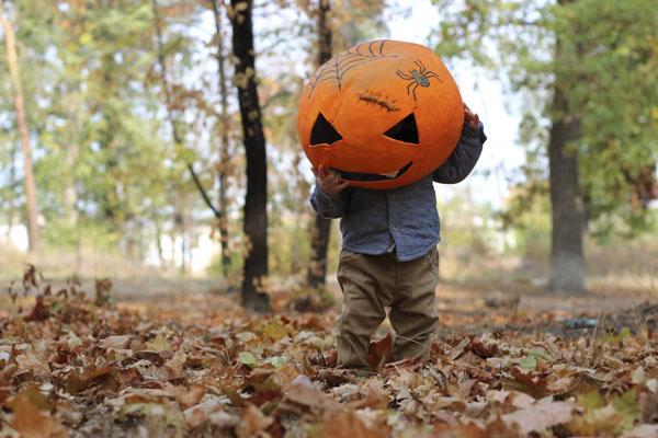 Pumpkin guy watching where he walks
