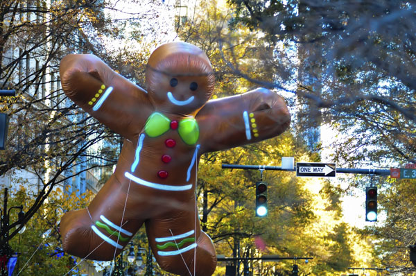 Inflatable gingerbread balloon in parade