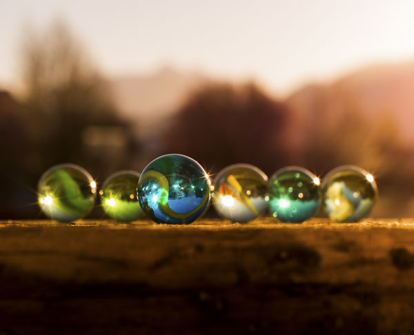 Marbles at sunset