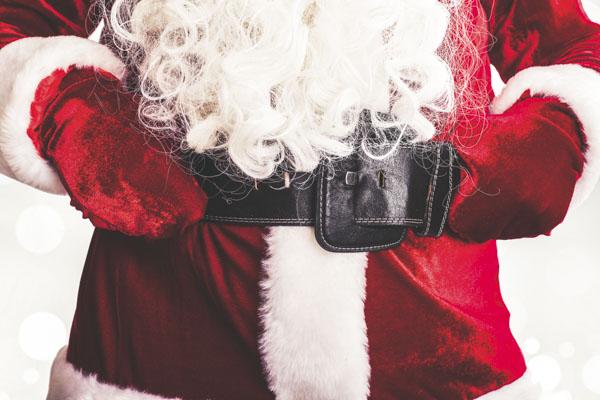 Santa Claus belt and mittens