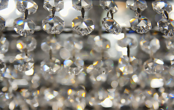 Close up of faceted chandelier crystals