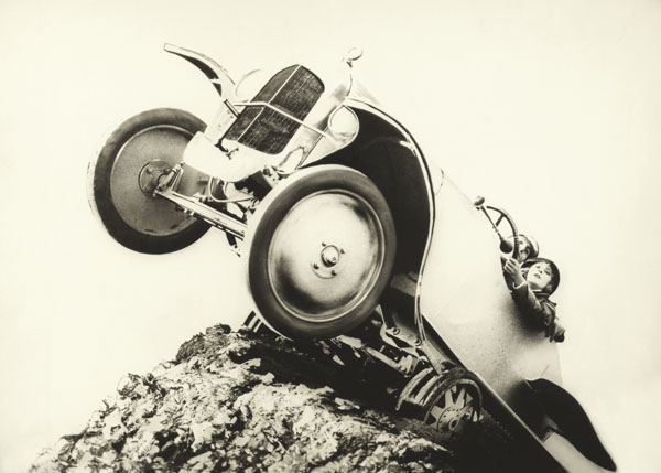 Car teetering on a cliff