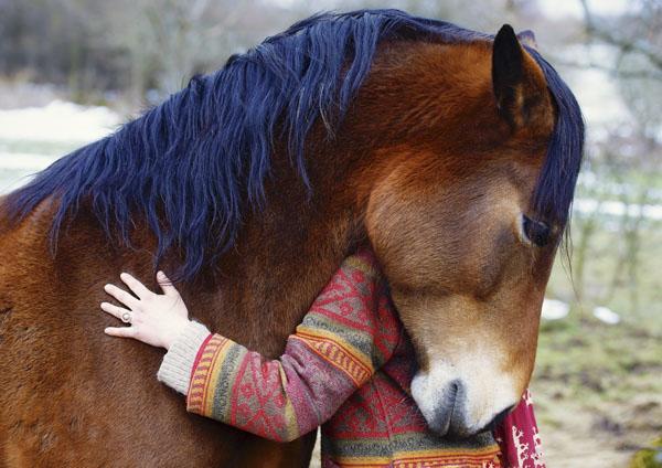 Horse and woman hug
