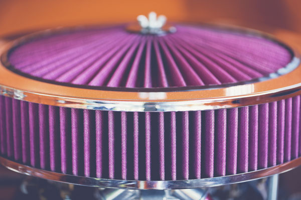 Pink air filter in classic car