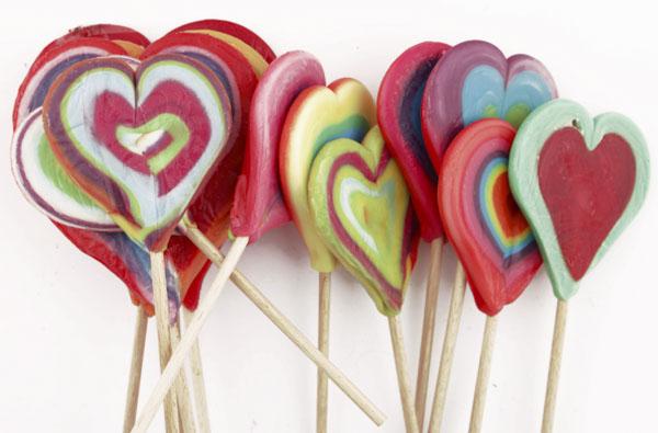 Heart shaped lollipops together