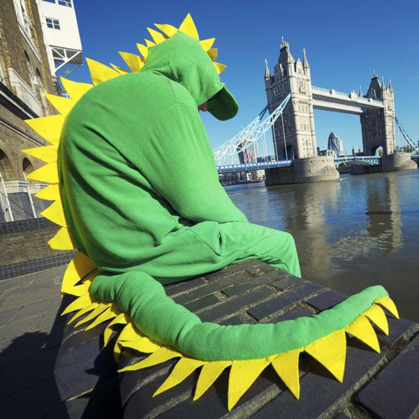 Sad man in Dragon costume