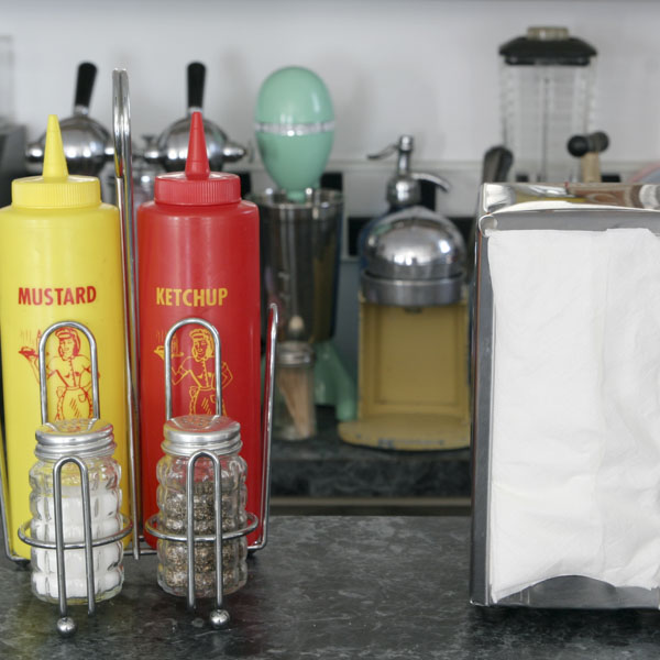 Retro diner with ketchup or mustard choices