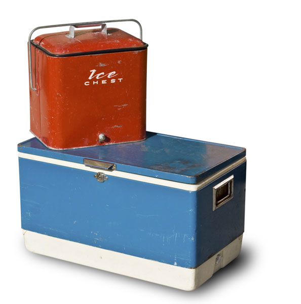 Vintage camping ice chest and cooler
