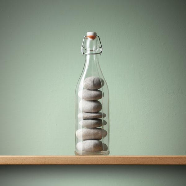 Rocks inside of bottle, impossible concept