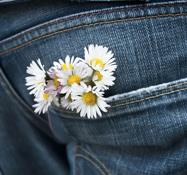Levi jeans with pocket full of yellow and white daisies