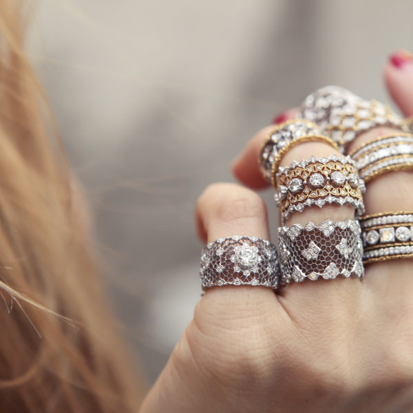 Woman with many fabulous vintage rings on her fingers